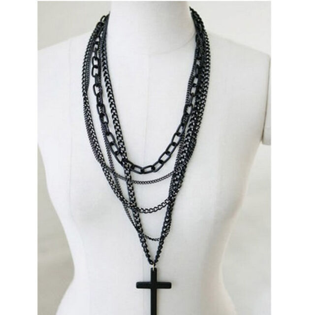 Retro Fashion Vintage Cross Pendant Long Chain Necklace jewelry gift