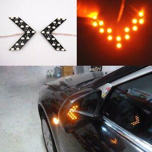 2x-Amber-14-SMD-LED-Arrow-Panel-Rear-View-Car-Side-Mirror-Turn-Signal-Light-Bulb