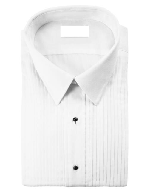 New Mens White Laydown Or Wing Collar Tuxedo Shirt All Size Pleat Ivory Black
