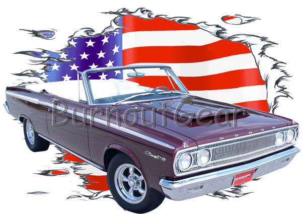 1965 Burgundy Dodge Cgoldnet Congreenible Hot Rod USAT T-Shirt 65 Muscle Car Tees