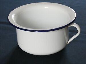 """Ancien SEAU d AISANCE pot de chambre """"Jules"""" TÔLE EMAILLEE blanche"""