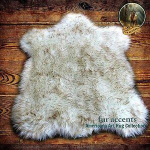 Arctic Fox White Browntip Bear Skin Faux Fur Pelt Rug Shag
