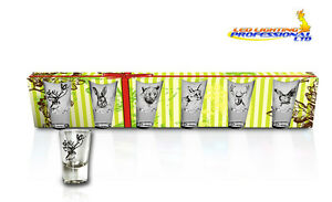 SET OF 6 SHOT GLASSES HUNTER SERIES - FOREST ANIMALS PARTY BIRTHDAY GIFT 35ml