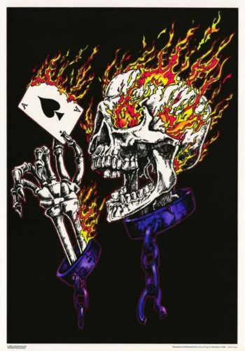 FLAMING  SKULL #FBL3260F   RAP26 B FANTASY POSTER BLACKLIGHT /& FLOCKED