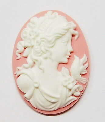4 of 40x30 mm White over Pink Victorian Grecian Muse Woman Floral Bird Cameos