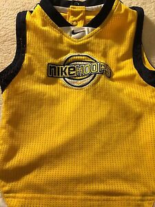 e82fbb2b5f6e New NIKE HOOPS Yellow Navy Toddler Boys Lined Jersey Size 12 Months ...