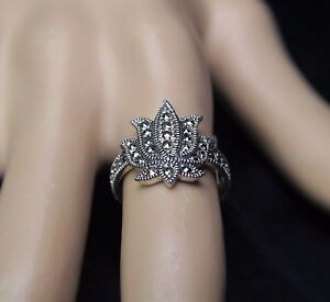 Sterling Silver Lotus Flower Ring With Marcasite Spiritual Symbol