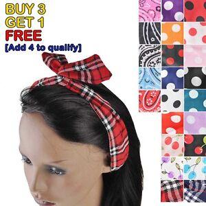 Vintage-Retro-Wire-Headband-Hair-Band-Head-Scarf-Wrap-Floral-Tartan-Polka-Dot