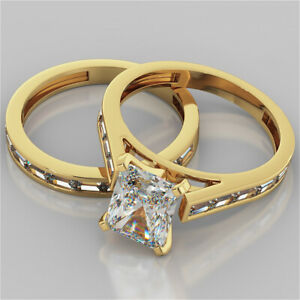 2.85 Ct Radiant Real Moissanite Band Set 14K Solid Yellow Gold Engagement Ring