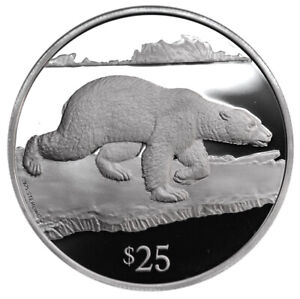 BRITISH-VIRGIN-ISLANDS-25-Dollars-1993-Silver-Proof-039-Polar-Bear-039