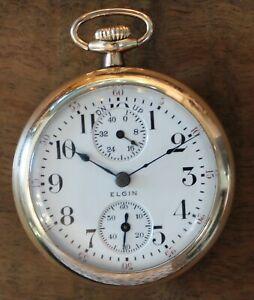 Elgin-10k-GF-Father-Time-Size-18-Up-Down-Indicator-21J-Rare-Model-Pocket-Watch