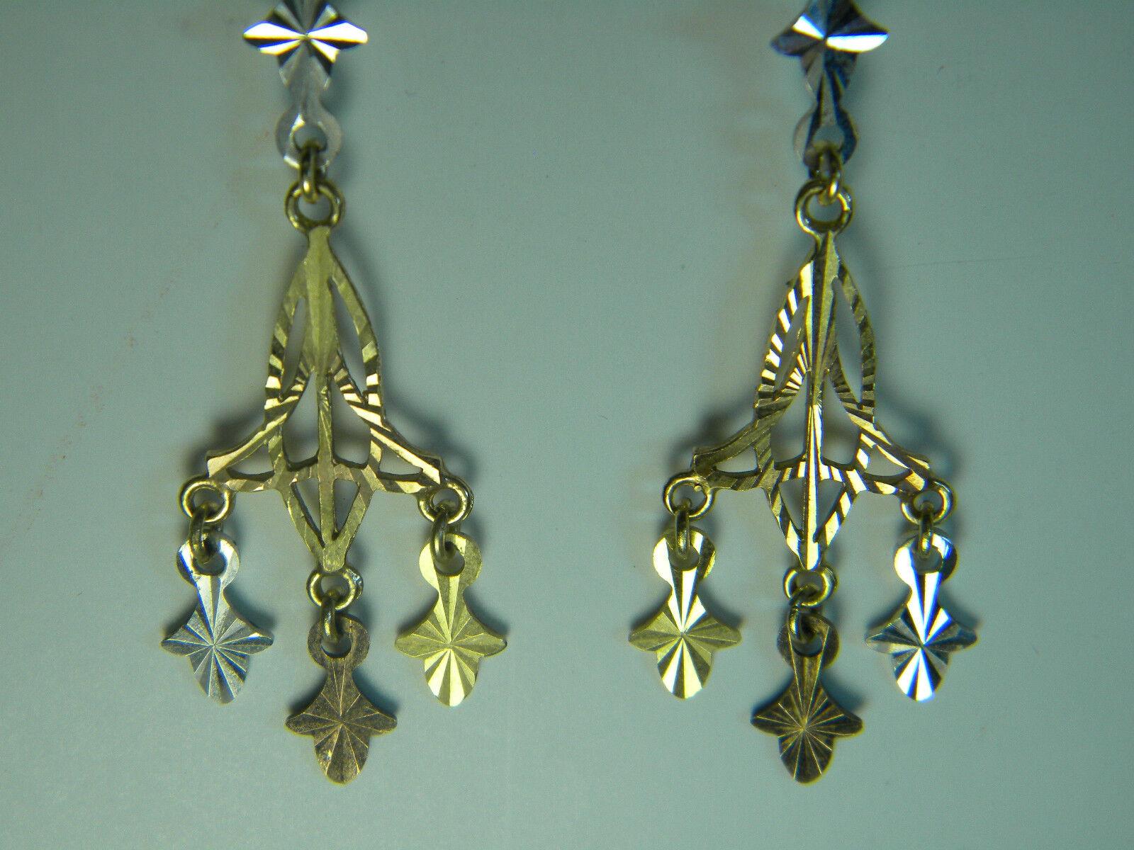 dce45c57528ba 14 gold Earrings Dangle Knot Trinity Filigree Chandelier Kt White ...