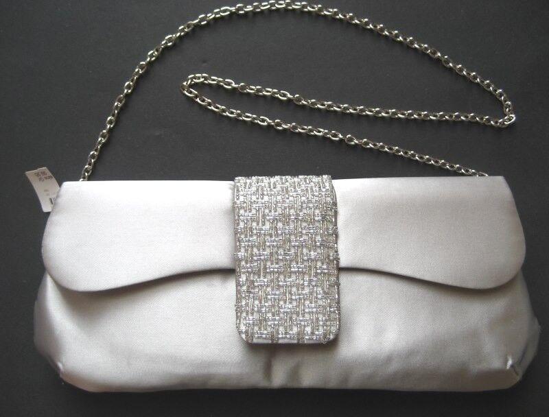 DRAP BARCELONA Damen Clutch-Tasche Abendtasche Silbergrau | Elegante Form