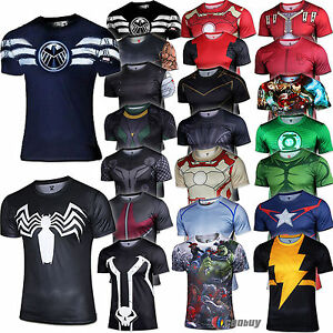 2016 m nner marvel superheld t shirt sport shirt tee tops. Black Bedroom Furniture Sets. Home Design Ideas