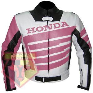 HONDA-9019-PINK-MOTORBIKE-MOTORCYCLE-BIKERS-COWHIDE-LEATHER-ARMOURED-JACKET