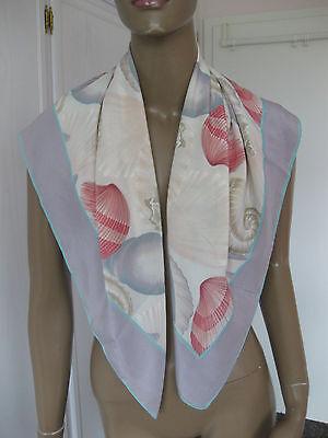 Splendido Panno/foulard Di Bleyle In Tenera Toni Con Conchiglie-mostra Il Titolo Originale