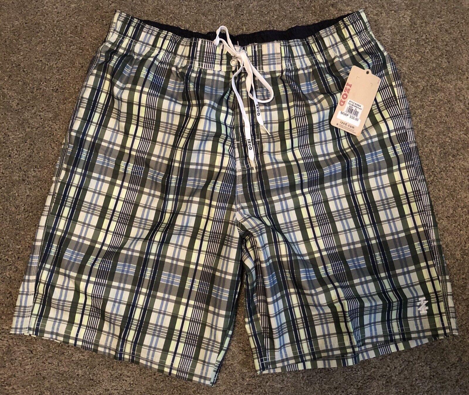 IZOD Swimwear Mens XL Swim Trunks Board Shorts Green Plaid NWT