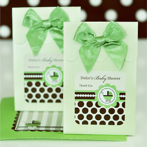 Details About 144 Personalized Green Baby Shower Theme Gender Neutral Candy Boxes Bags Favors