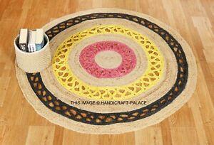 Indian-Round-Jute-Rug-Vintage-Area-Floor-Mats-Living-Room-Rag-Rug-Dhurrie-120CM