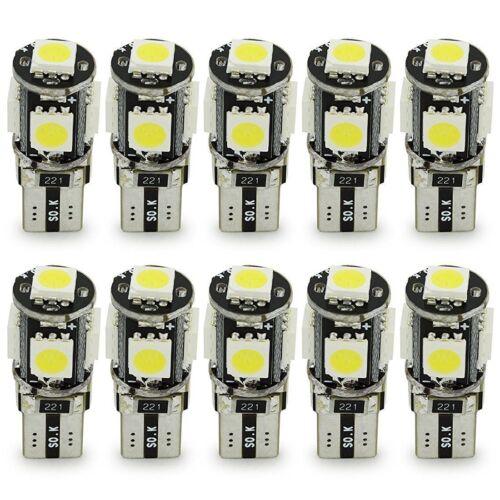 10pcs T10 5SMD 5050 Car LED Bulbs Interior Ultra Bright White Lights 12V MA1041