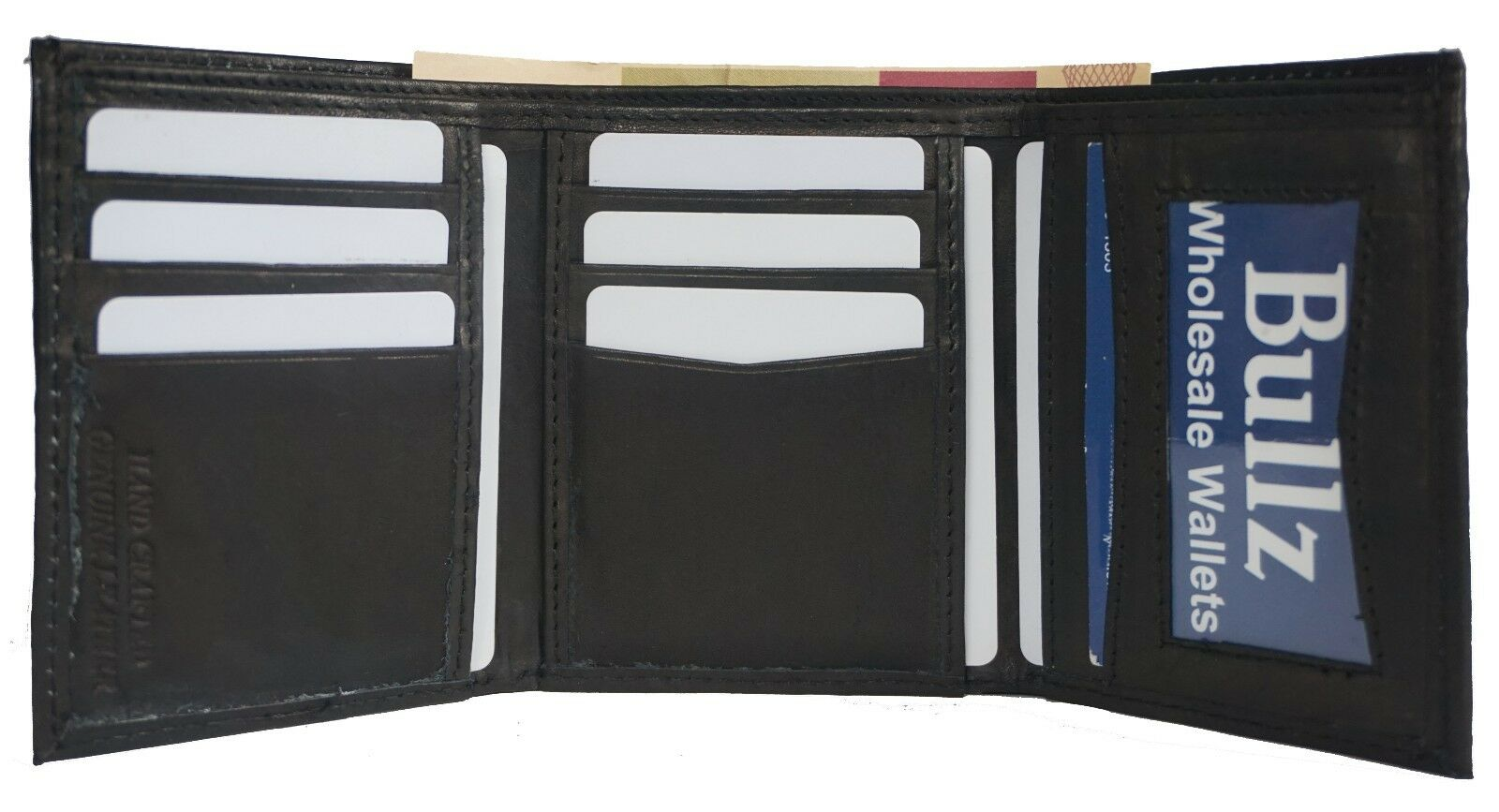 Trifold Leather Wallets for Men Credit Card- ID Holder Black-Brown-Burgundy-Tan
