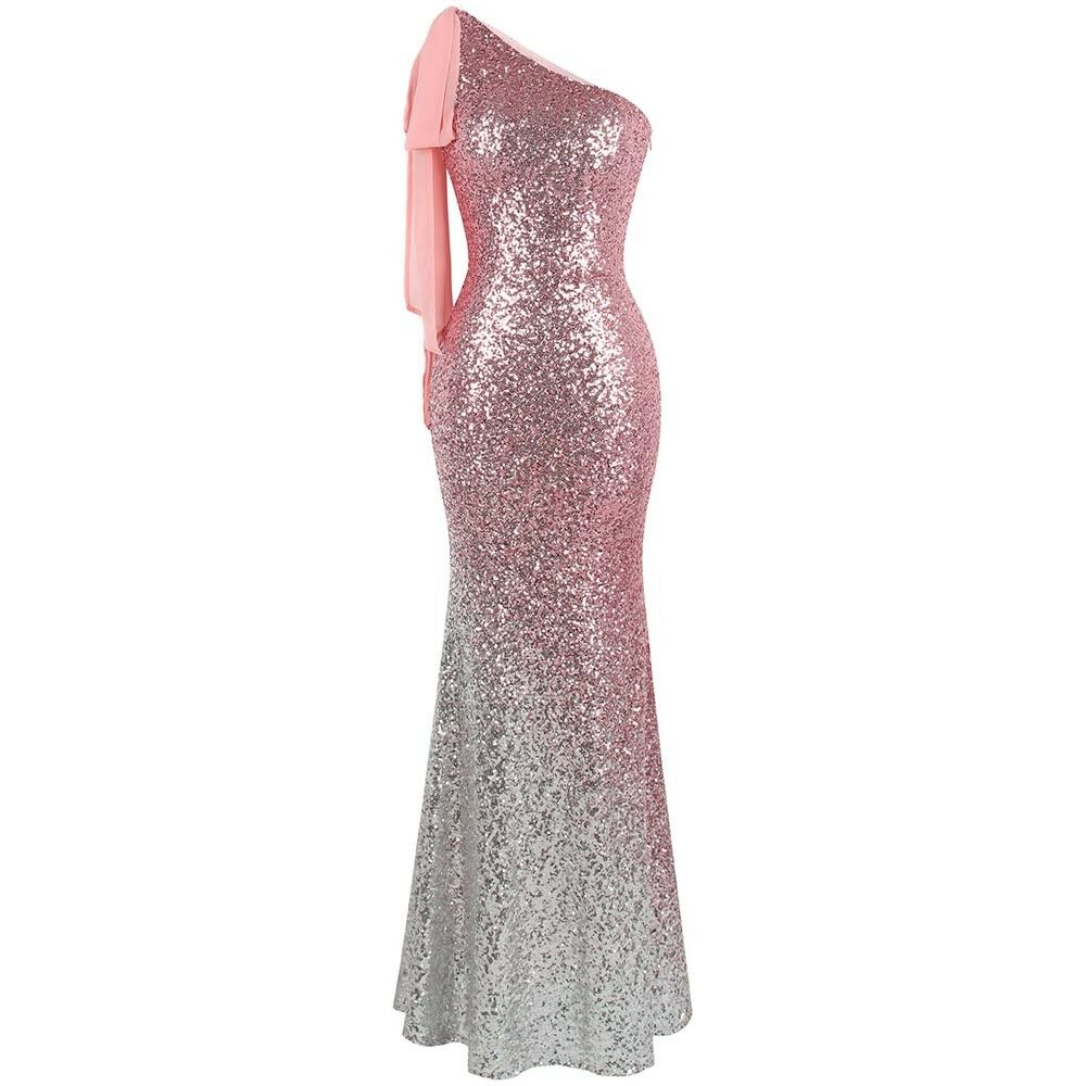 Angel-fashions Asymmetric Ribbon Gradient Sequin Mermaid Prom Prom Prom Dress 286 a3d66e