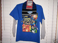 Justice League Child Size M 8 Long Sleeve T-shirt And Beanie Combo Blue/gray