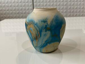 Vintage-Nemadji-Pottery-Clay-Swirl-Art-Pottery-Pot-Form-Vase