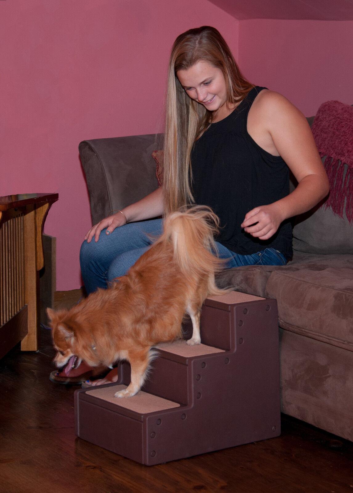 sconto Pet Gear NEW Easy Pet Pet Pet Step III & IV Dog Cat Stairs Ramp, Chocolate, Two Dimensiones  vendita online sconto prezzo basso