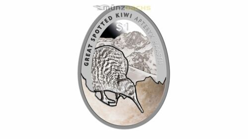 $1 Dollar Great Spotted Kiwi New Zealand 1 oz fine silver 2016 Proof egg shaped