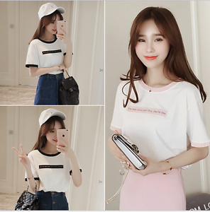 685126851edc Korean fashion Women/Girl Letter Print casual short Sleeve T-shirt ...