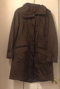 cappuccio Jacket con Womens foderato oliva Gallery Coat Trench Taglia verde M ZqwnPAO