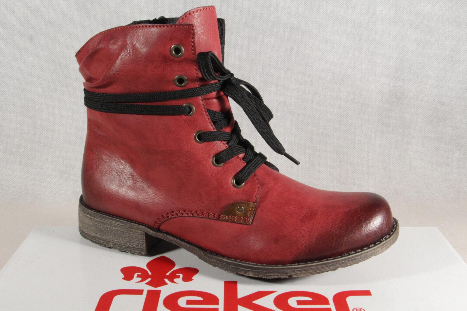 Rieker Bottes pour Femme Bottines Bottes à Lacets Bottes Rouge 70829 Neuf