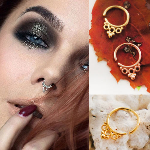 18G 1mm Tri Circle Ethnic Tribal Ornate Beaded Septum Nose Jewelry Capture Ring