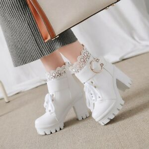Fashion-WOmen-039-s-High-Block-heels-Round-toe-Leather-Platform-Martin-Ankle-Boots