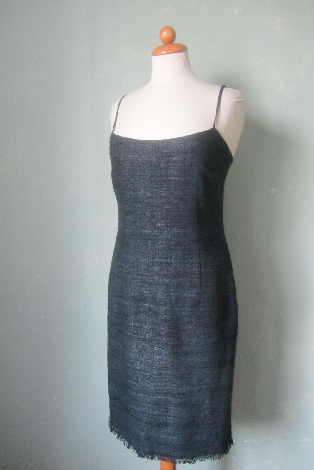 Strenesse Blau Kleid Sommerkleid Dunkelblau dünne Träger eng Größe 36 S (KL3)