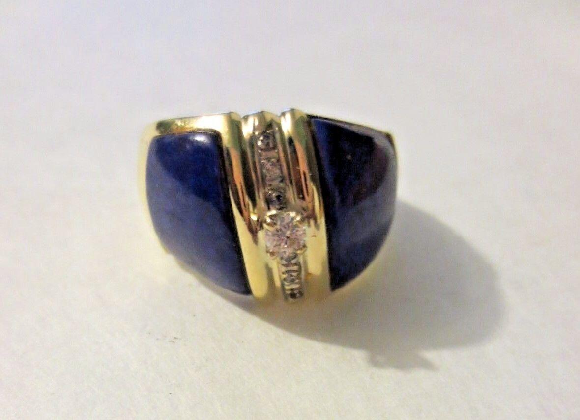 Fabulous 14K Yellow gold Lapis & Diamond Ring - Size 8 3 4  -  Awesome Condition