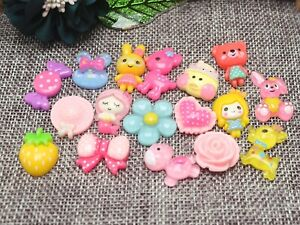 50-Colourful-Flatback-Resin-Crystal-Cabochons-Assorted-Animal-Flower-Candy-DIY