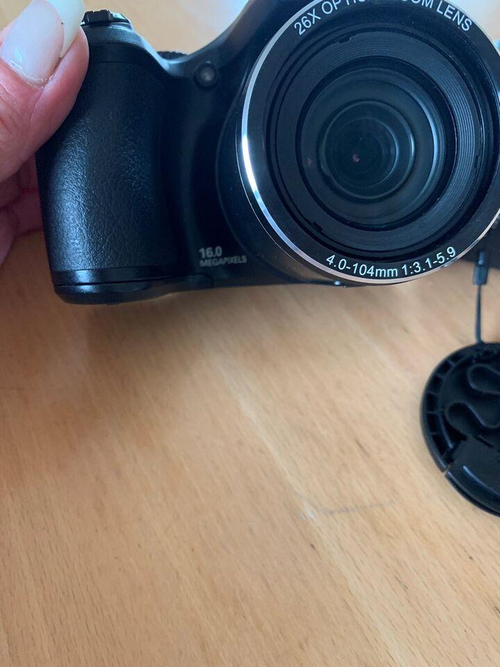 Kamera, videokamera og taske, Medion og Samsung
