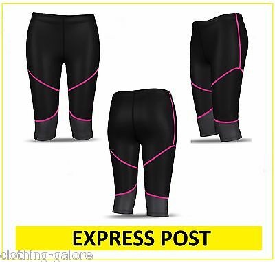 WOMENS BLACK PINK 3/4 COMPRESSION LEGGINGS GYM PANTS RUNNING SKIN - EXPRESS POST