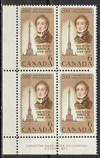 CANADA #501 6¢ Sir Isaac Brock LL Plate Block MNH