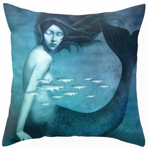 BLUE OCTOPUS Sea Life LINEN COTTON Marine CUSHION Cover UK Seller