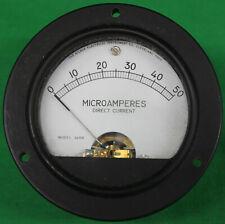 Original Vintage Hickok Dc Microamperes Meter 0 50