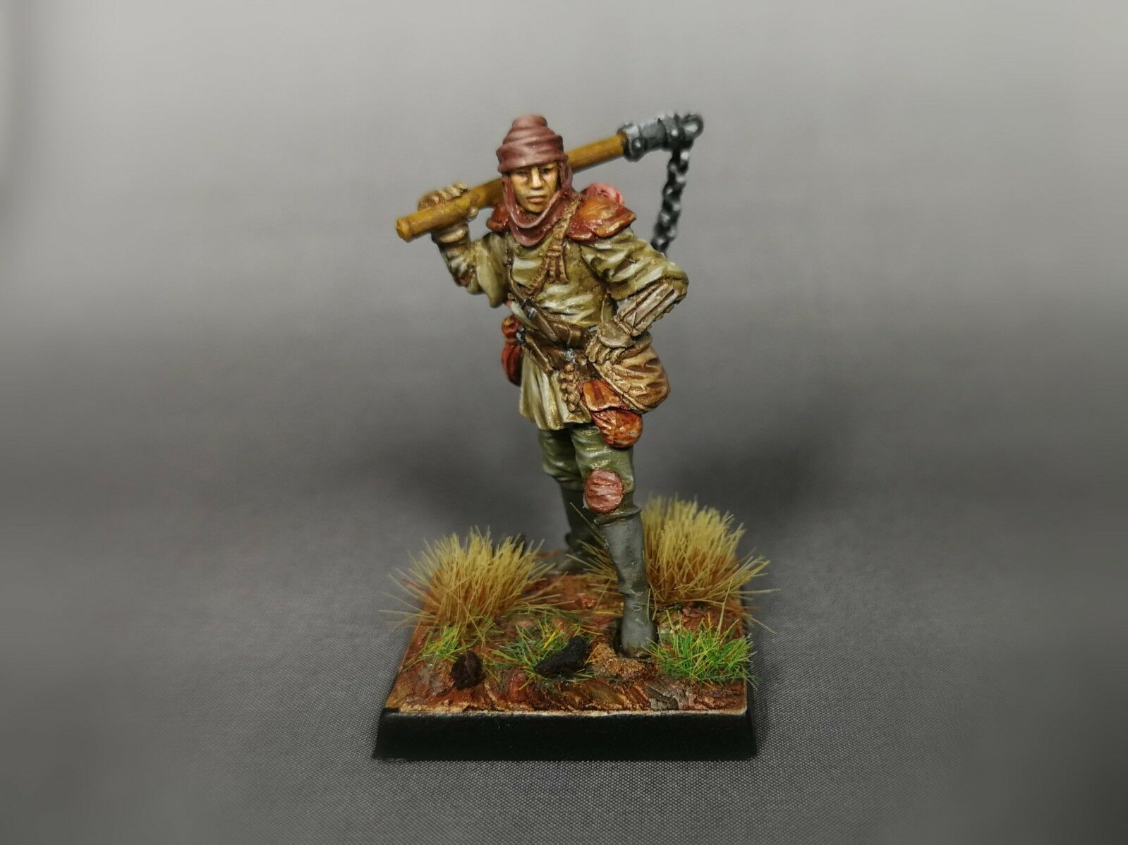 (PTM) PAINTED FANTASY - RPG AD&D PATHFINDER 28mm - MALE HUMAN FIGHTER (resin)