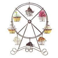 Ferris Wheel Metal Cupcake Holder Stand, Silver, 18-1/2-inch