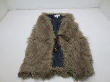 Nikki Poulos Sleeveless Draw String Mongolian Faux Fur Vest - XS - Brown