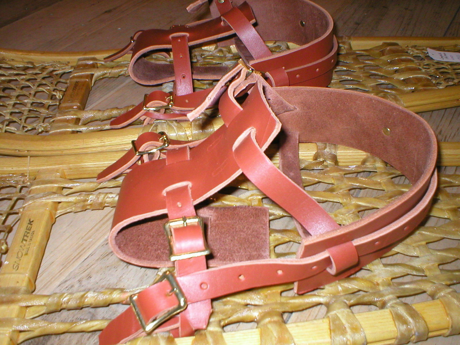 BINDINGS ONLY New Pair LEATHER Howe Snowschuhe Bindings Straps Harness USA MADE