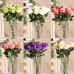 Home-Rose-Craft-Centerpiece-Silk-Flowers-Decor-Party-Wedding-Bridal-Gift-Ornate