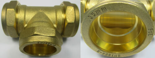 BRASS COMPRESSION FITTINGS EQUAL TEE SIZES 8 10 12 15 22 28 35 42 54 mm BSP WRAS