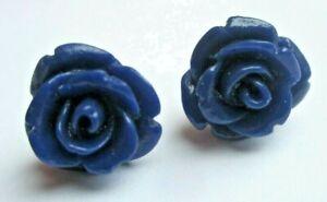 éNergique Boucles D'oreilles Percées Bouton De Rose Bleu Clou Argenté Bijou Vintage 3442 Les Clients D'Abord